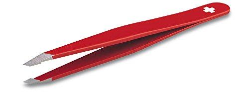 Victorinox Pinzette Swiss Rubis, Edelstahl, Schräger Pinzettenkopf, 9,5 cm Länge, Rot