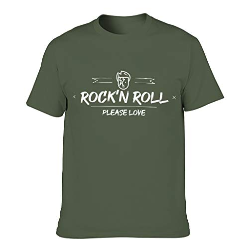 Camiseta de algodón para hombre con la paz Love and Rock 'N Roll novedad divertida cómoda – Parte superior estampada verde militar S
