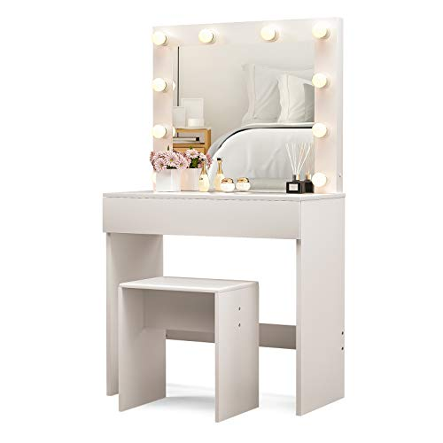 Mecor LED Dressing Table Makeup Vanity Table w/10 LED Lights Mirror,Vanity Set with Stool&Drawer,Wood Dressing Table Bedroom Furniture Girls Women Gifts White