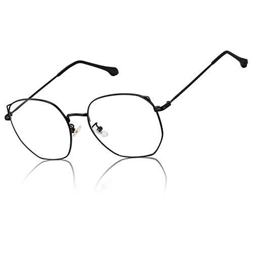 DUCO Retro Blue Light Blocking Glasses Lightweight Eyeglasses Frame Filter Blue Ray Computer Gaming Glasses 8217 (Black)
