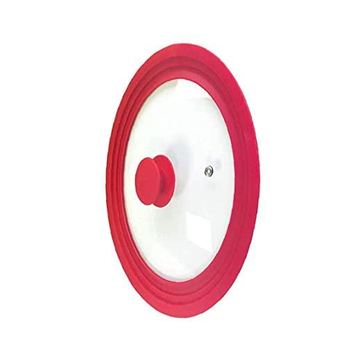 Ohomr Pan Tapa Universal Borde de Silicona Vidrio Templado 9.5inch 10inch 11inch para Olla Cacerola Vapor Vent Lavavajillas Red Segura