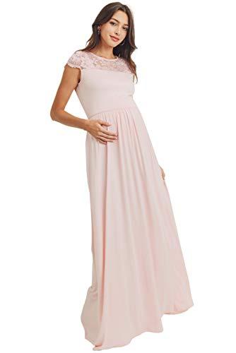HELLO MIZ Women's Maxi Maternity Dress with Lace Yoke