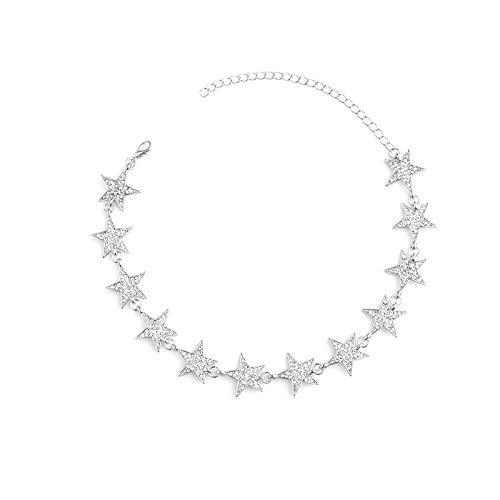 Declaración de color oro estrella colgante simple Rhinestone gargantilla ajustable moda collar joyería para encanto mujeres