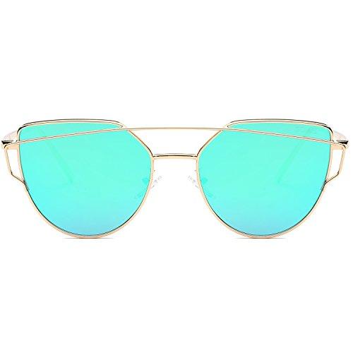 SOJOS Katzenauge Metall Rand Rahmen Damen Frau Mode Sonnenbrille Verspiegelt Linse Women Sunglasses SJ1001 mit Gold Rahmen/Grün Linse