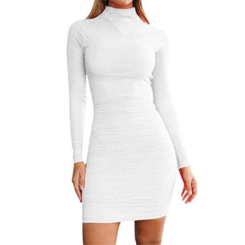 TIFENNY Dames Winter Onderdompeling Jurk Topjes Coltrui Casual Lange Mouw Sexy Party Slim Skinny Mini Jurk