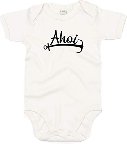 Kleckerliese Body à manches courtes pour bébé Motif AHOI Anker mer Heimat - Beige - 12-18 mois