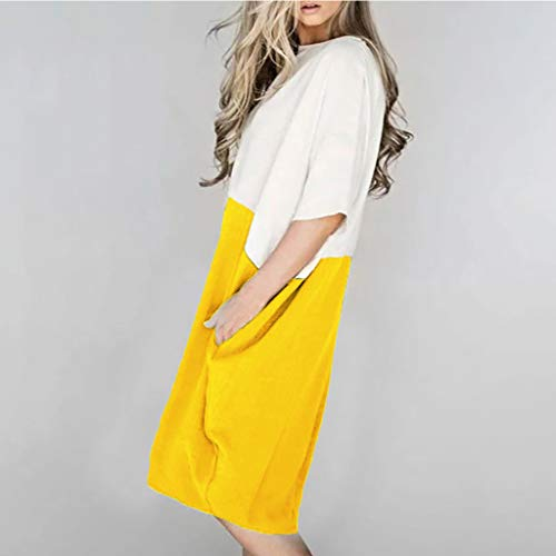 Lialbert Leinenkleid Kleid Rundhals Dame Sommerkleid T-Shirt-Kleid BüNdchen ÄRmeln Pailletten Frauen Kleid Swing-Kleid Strandkleid Skaterkleid Plissierter Rock Gelb