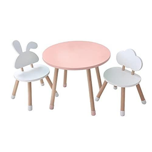 KYWAI-Juego de Mesa y Dos sillas Infantiles Muebles para niños De Madera Color Rosa y Blanco Mesa pequeña Redonda Estilo nordico Escritorio Infantil Dormitorio