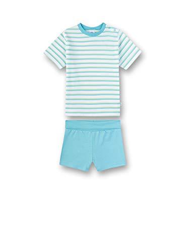 Sanetta Baby-Jungen kurzer Pyjama Zweiteiliger Schlafanzug, Weiß (White 10), 74 (Herstellergröße: 074)
