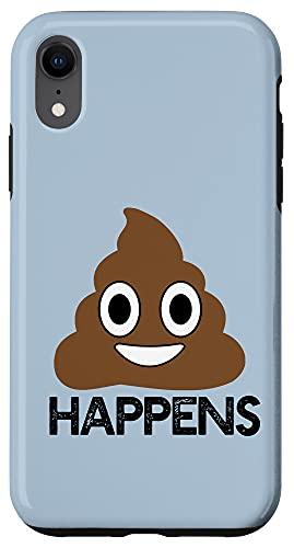 iPhone XR POOP HAPPENS Poo Pile Funny Silly Emoji Meme Case