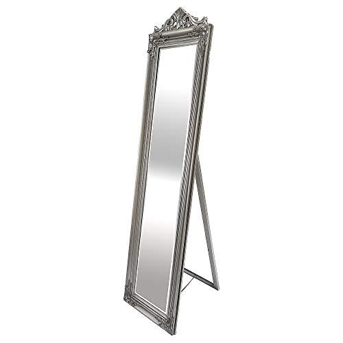 LEBENSwohnART Standspiegel XENAS 180x44cm Silber Ankleidespiegel Ganzkörperspiegel Spiegel