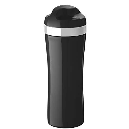 koziol Trinkflasche Oase, schwarz mit weiß, 7.4 x 7.4 x 21.6 cm