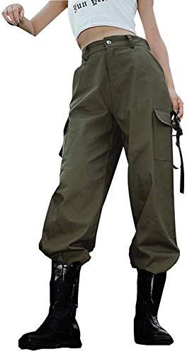 Mujer Pantalones Sueltos Deportivos Pantalones Casuales de Mujer Pantalones Cargo para Mujer Pantalones Largos de Cintura Alta de Moda para Baile Hip Hop Ocio Deportes al Aire Libre
