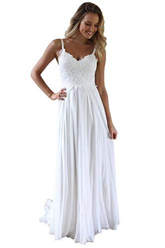 Nanger Damen Spitze Chiffon Hochzeitskleider Standesamt Lang mit Träger Boho Brautkleider Strand Weiß 38