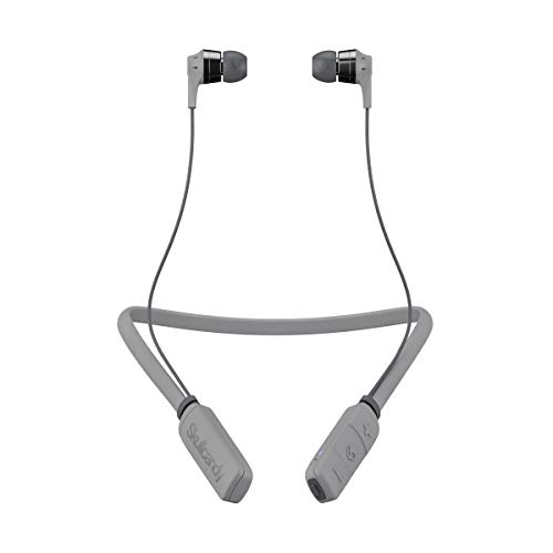 Skullcandy Ink'd Bluetooth Wireless Earbuds with Microphone, Noise Isolating Supreme Sound, 8-Hour Rechargeable Battery, Lightweight with Flexible Collar, Street/Gray/Chrome