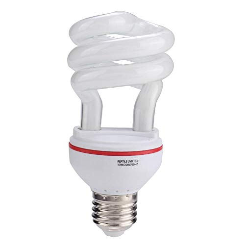 Rockyin Lampada uvb Tartarughe, Lampadina 13W 220V Rettile UVB lampade a Risparmio energetico Tartaruga Serpente Lucertola Luce (UVB 10,0)