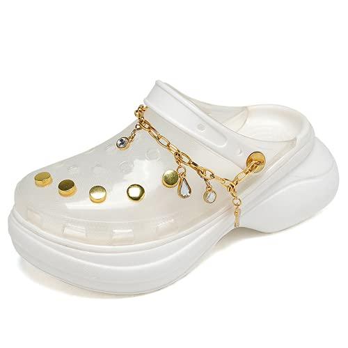 Pattrily Zuecos claros para mujer ligeros de jardín zuecos de verano zapatillas zapatos, transparente (Alta transparencia.), 34 EU