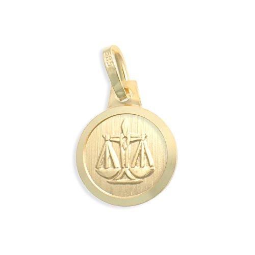 Sternzeichen Tierkreiszeichen Waage & Schutzengel 14 Karat Gold 585 Anhänger Durchmesser 10mm (Art.213125)