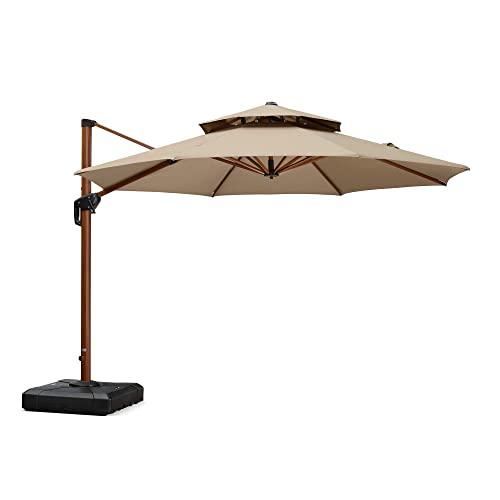 PURPLE LEAF 11 Feet Double Top Deluxe Sunbrella Wood Pattern...