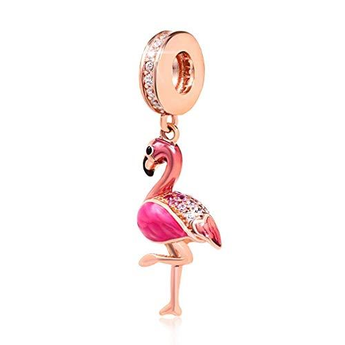 Abalorio de flamenco de plata de ley 925 con diseño de pájaro, para pulsera Pandora