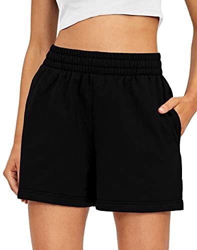 Ezymall Womens Sweat Shorts Casual Summer Comfy Elastic High Waist Shorts Drawstring Workout Shorts with Pockets Black