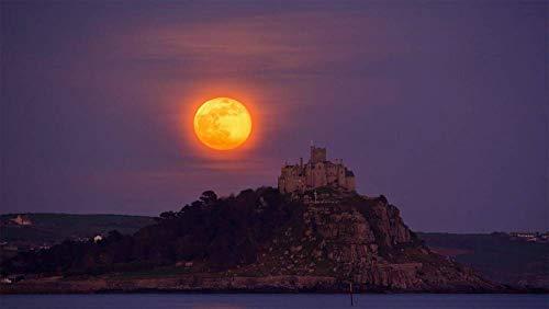 Puzzel Voor Volwassenen 1000 Stukjes, De Volle Maan In April Komt Op Van Mount St. Michael, Cornwall, Vk, Uniek Verjaardagscadeau