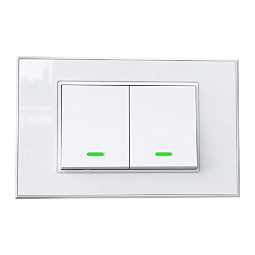 Interruttore Wifi Domotica Interruttore Smart App Controllo Remoto Compatibile con Amazon Alexa Google Home SmartThings Compatibile con Scatole 503(2 Gang)