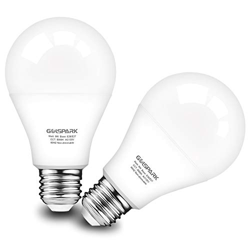 Motion Sensor Light Bulb 9W (60W Equivalent),Golspark Radar PIR Activated LED Bulb,E26 Medium Base,Auto-on/Off Indoor Outdoor Lighting for Porch,Garage,Hallway,750lm,2 Pack (Motion Sensor 5000K)