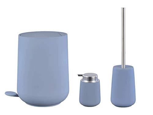 Zone Denmark Nova Bad Accessoires Set Pedaleimer Seifenspender Toilettenbürste Blue Fog blaugrau