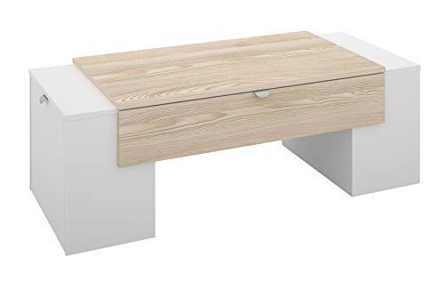 Berlioz Creations Lucky Table Basse Frêne/Blanc, 123 x 55 x 42 cm, Fabrication 100% Française