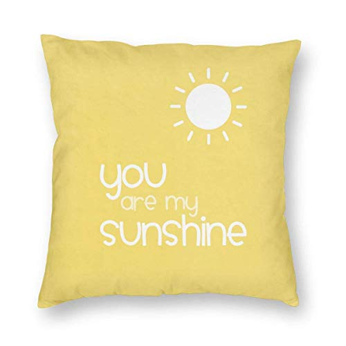 Harla You Are My Sunshine Yellow Velvet Soft Decorative Square Throw Pillow Case Cushion Cover Pillowcase for Livingroom Sofa Bedroom with Invisible Zipper 20x20 Inches