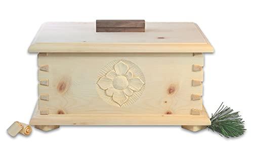 Holzkunst Lackner Brotdose aus Zirbenholz mit Blume