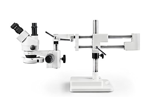 Parco Scientific PA-5FX-IFR07 Trinocular Zoom Stereo Microscope | 10x Widefield Eyepiece, 0.7X-4.5X Zoom Range, 3.5x-45x Magnification Range, 0.5X Aux Lens | Double Boom Stand | 144-LED Ring Light