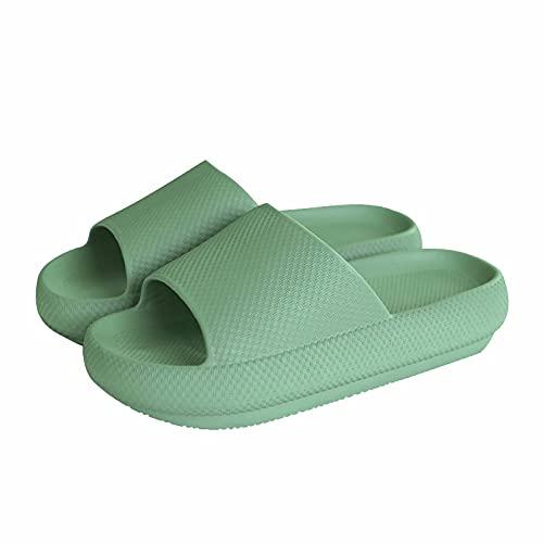GEWEO Zapatillas de Baño Hombre Mujer Casa Chanclas Unisex Adulto Verano Sandalia Zapatos Playa Piscina Ducha Familia Antideslizante Elástica Cómoda Ligera Indoor Masaje Durable Verde Talla 38-39 EU