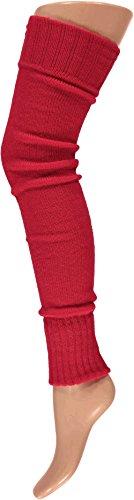 krautwear® Damen Beinwärmer Stulpen Legwarmers Overknees gestrickte Strümpfe ca. 70cm 80er Jahre 1980er Jahre (rot)