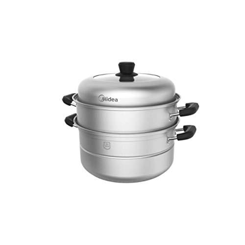 Coolshopy Vapor, inferior grueso de 3 capas cocinando el pote, Hogar inferior compuesta de gran diámetro y de gas cocina de inducción universal, crisol de cocinar de múltiples funciones de vapor, (Col