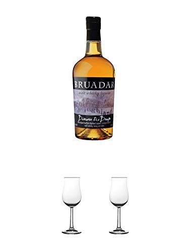 Bruadar Whisky Malt Whisky Liköre 0,7 Liter + Nosing Gläser Kelchglas Bugatti mit Eichstrich 2cl und 4cl 1 Stück + Nosing Gläser Kelchglas Bugatti mit Eichstrich 2cl und 4cl 1 Stück