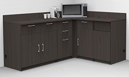 Coffee Kitchen Lunch Break Room Cabinets Model 5467 BREAKTIME 5 Piece Corner Group Color Espresso - Factory Assembled (NOT RTA) Furniture Items ONLY.