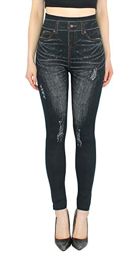 dy_mode High Waist Leggings Damen Hose Jeggings in Jeans Optik ideal für Frühjahr Sommer - OneSize Gr.36-42 - JL078 (JL134-Schwarz | Gr.36-40)