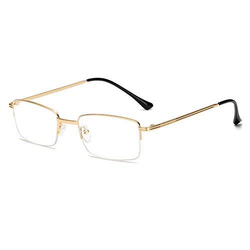 Reading Glasses Gafas de Lectura de Metal con Media Montura, Lentes de Resina de Alta definición, cómodas Almohadillas de Silicona para la Nariz, cómodas y Suaves de Llevar