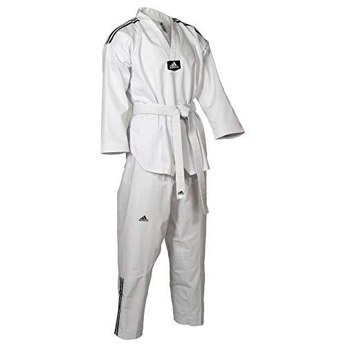 adidas Dobok Adiclub 3S - weisses Revers Taekwondo-Anzug (190)