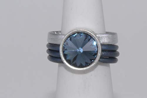 Tolles Geschenk: Leder-Ring mit Swarovski Cabochon