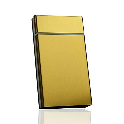 Cigarette Case Sturdy Cigarette Holder Metal Exterior and Plastic Inner,Brushed Aluminum Cigarette Case Lightweight Cigar Protective Cover Box Slider Design,for 100's 100mm Cigarettes (Blue)