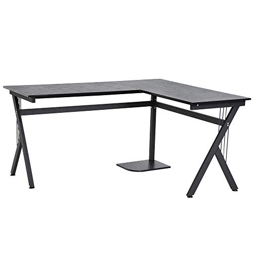 Mesa de Ordenador Mesa de PC Escritorio de Oficina Mesa Mesa Esquinera de Ángulo para Hogar Escuela y Oficina 155x130x76cm Madera Negro