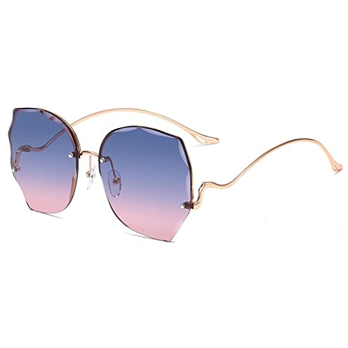 XDOUBAO Gafas de sol Gafas de sol Gafas de sol sin marco femeninas Gafas de tiro de calle personal-Marco de oro C3