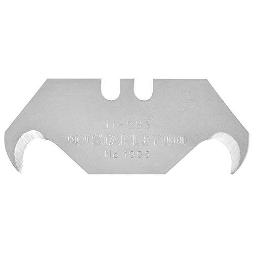 Stanley Hakenklingen 1996 (0,65 mm Klingenstärke, geeignet für Verpackungen/Bodenbeläge/Plastik) 10 Stück, 1-11-802