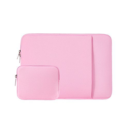 RAINYEAR 14 Inch Laptop Sleeve Case Protective Soft Padded Zipper Cover Carrying Computer Bag with Front Pocket & Accessories Pouch,Compatible with 14' Notebook Chromebook Tablet Ultrabook(Pink)