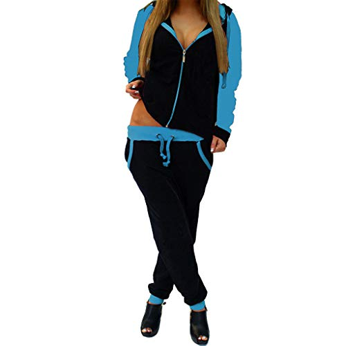 Drindf 2 Piece Fashion Women Casual Patchwork Zipper Long Sleeve Pullove Hoodie Tracksuit Sweat Pants Set Outifit Blue