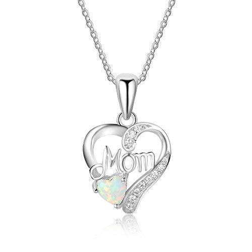 Bo&Pao Kette Damen 925 Sterling Silber Zirkonia Herz-Anhänger mit Opal in Herzform und MOM Geschenk für Mutter
