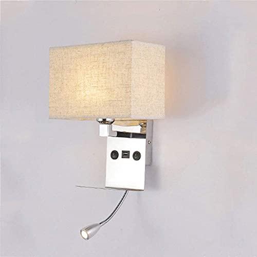 DZCGTP Lampade da Comodino per camere da Letto, Applique da Lettura per Interni, Applique con Luce di Lettura a LED Regolabile, 1 Porta USB
